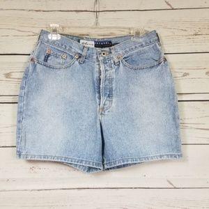 EXPRESS BLEUS button up high waisted jean shorts